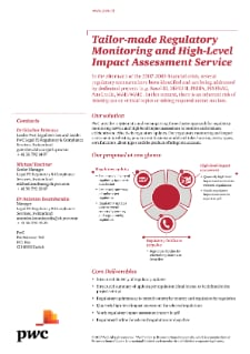 Tailor-made Regulatory Monitoring and High-Level Impact Assessment Service