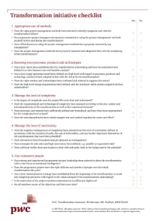 Transformation initiative checklist